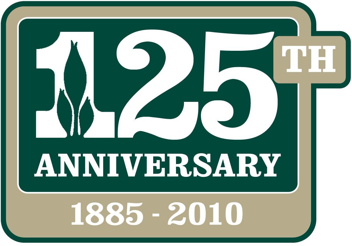 125th logo tan and green border